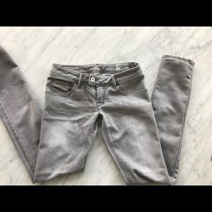 Diesel distressed grey low rise skinny jeans